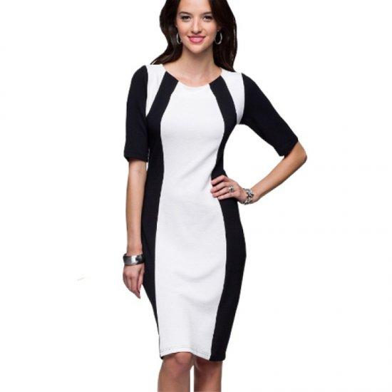 Women Fashion Slim White Color Splicing Bursts Bodycon Dress WC-04 image