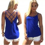 Womens Fashion Round Neck Blue Color Sleeveless Vintage Shirt WC-05BL image