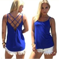 Womens Fashion Round Neck Blue Color Sleeveless Vintage Shirt WC-05BL