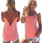 Womens Fashion Round Neck Pink Color Sleeveless Vintage Shirt WC-05PK image