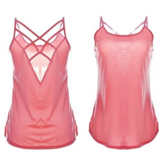 Women Fashion Round Neck Pink Color Sleeveless Vintage Shirt WC-05PK |image