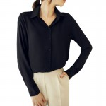Womens Fashion V Collar Black Color Stripe Long Sleeve Chiffon Shirt WC-06BK |images|Dresses
