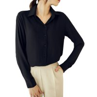 Womens Fashion V Collar Black Color Stripe Long Sleeve Chiffon Shirt WC-06BK