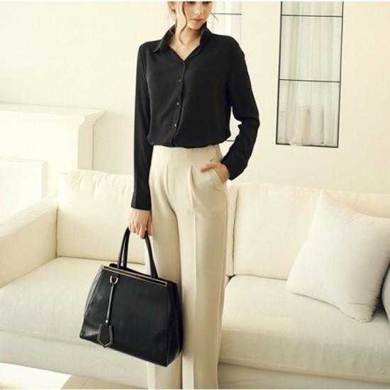 Womens Fashion V Collar Black Color Stripe Long Sleeve Chiffon Shirt WC-06BK image