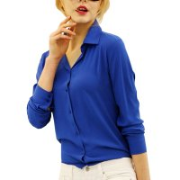 Women Fashion V Collar Blue Color Stripe Long Sleeve Chiffon Shirt WC-06BL