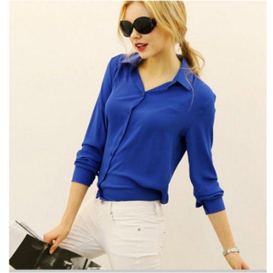 Women Fashion V Collar Blue Color Stripe Long Sleeve Chiffon Shirt WC-06BL