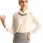 Womens Fashion V Collar White Color Stripe Long Sleeve Chiffon Shirt WC-06W|images|Dresses