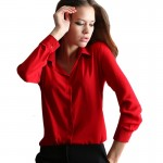 Womens Fashion V Collar Red Color Stripe Long Sleeve Chiffon Shirt WC-06RD image