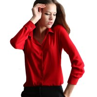 Womens Fashion V Collar Red Color Stripe Long Sleeve Chiffon Shirt WC-06RD