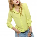 Womens Fashion V Collar Yellow Color Stripe Long Sleeve Chiffon Shirt WC-06Y |images|Dresses