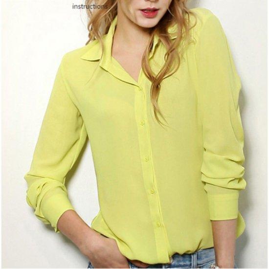 Womens Fashion V Collar Yellow Color Stripe Long Sleeve Chiffon Shirt WC-06Y