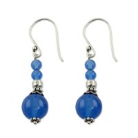 Blue Heavenly India Handmade Chalcedony Earrings ANDE-24