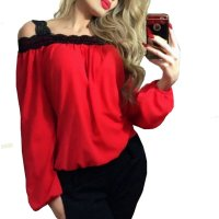 Womens Fashion Wind Long Sleeve Cotton Red Color Shirt WC-07RD