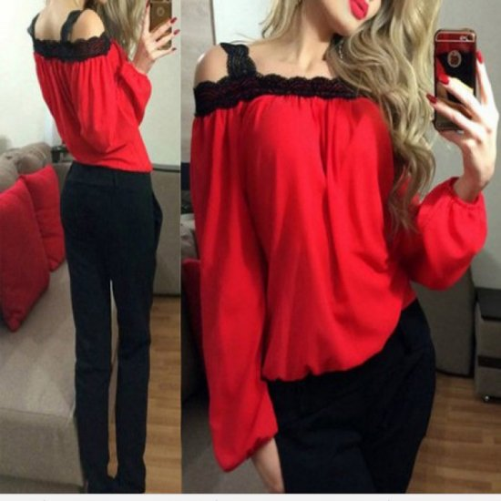 Womens Fashion Wind Long Sleeve Cotton Red Color Shirt WC-07RD image