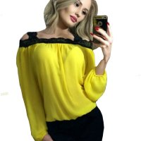 Womens Fashion Wind Long Sleeve Cotton Yellow Color Shirt WC-07Y