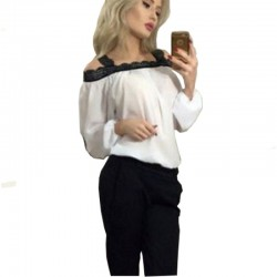 Womens Fashion Wind Long Sleeve Cotton White Color Shirt WC-07W