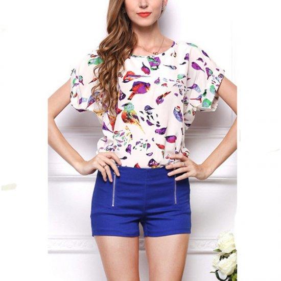 Womens Fashon Short Sleeves Bird Printing Round Neck Shirt WC-08