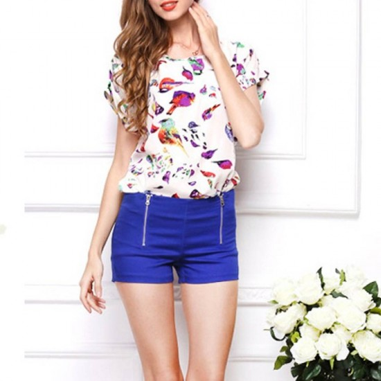 Women Fashion Short Sleeves Bird Printing Round Neck Shirt WC-08  image