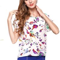 Womens Fashon Short Sleeves Bird Printing Round Neck Shirt WC-08