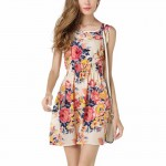 Womens Fashon Multi Color Sleeveless Round Collar Floral Shirts WC-09 image