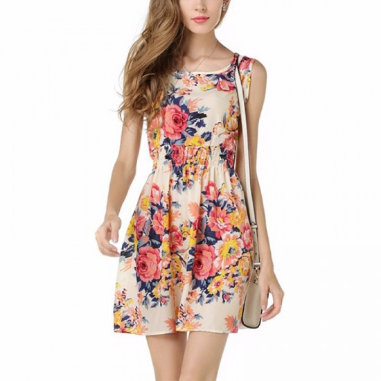 Womens Fashion Multi Color Sleeveless Round Collar Floral Shirts WC-09 image