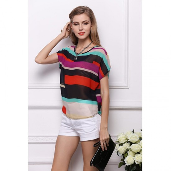 Short Sleeve Women Fashion Irregular Rainbow Colored Shirt WC-10 image