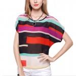 Short Sleeve Women Fashion Irregular Rainbow Colored Shirt WC-10 |image