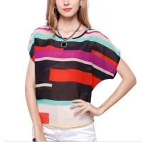 Short Sleeve Women Fashion Short Sleeve Irregular Rainbow Colored  Shirt WC-10