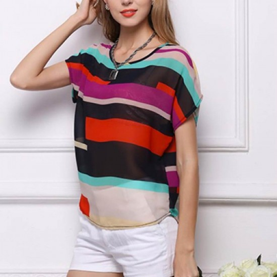 Short Sleeve Women Fashion Irregular Rainbow Colored Shirt WC-10 image