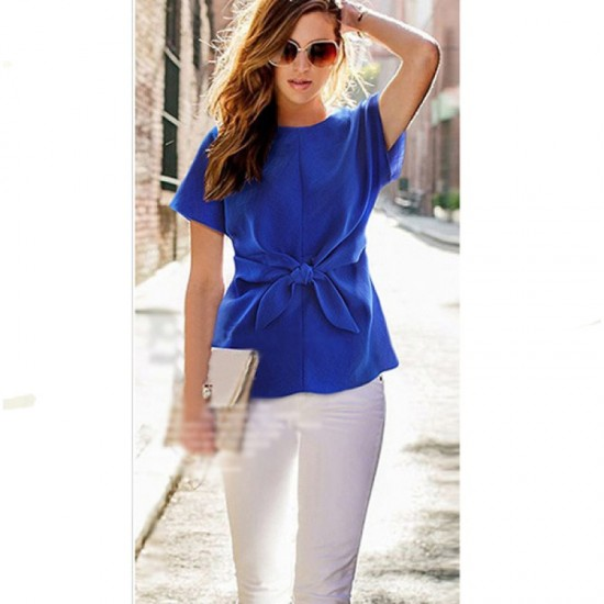 Short Sleeve Women Fashion Blue Round Neck Chiffon Shirt WC-11BL