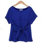 Short Sleeve Women Fashion Blue Round Neck Chiffon Shirt WC-11BL image