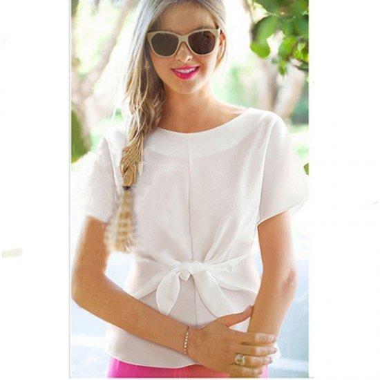 Short Sleeve Women Fashion White Round Neck Chiffon Shirt WC-11W image