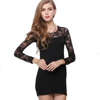 Womens Fashion Long Sleeve Black Color Buttocks Bottom Skirt WC-12