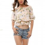 Short Sleeve Women Half White Floral Loose Waist Chiffon Shirt WC-13 image