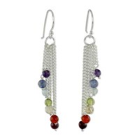 Blue Flow Multi-Gemstone Sterling Silver Earrings Chakra Jewelry Earrings ANDE-04