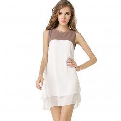 Womens Fashion Sleeveless Stitching Double Color Chiffon Shirt WC-15