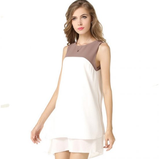 Womens Fashion Sleeveless Stitching Double Color Chiffon Shirt WC-15