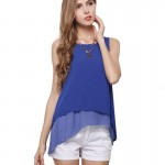 Womens Fashion Sleeveless Blue Jacket Double Chiffon Shirt WC-16 image