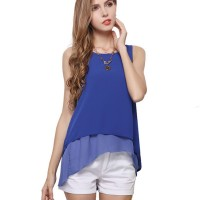 Womens Fashion Sleeveless Blue Jacket Double Chiffon Shirt WC-16