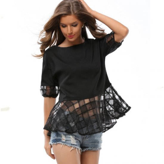 Womens Fashion Loose Thin Snow Spinning Black Chiffon Shirt WC-17