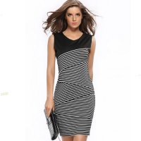 Womens Fashion V Neck Collar Striped Stitching Sleeveless Black Skirt WC-18