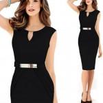 Womens Fashion Metal Buckle Slim Temperament black Pencil Skirt WC-19BK|images|Dresses