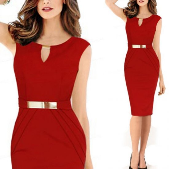 Women Fashion Metal Buckle Slim Temperament Red Pencil Skirt WC-19RD
