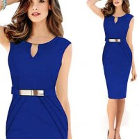 Women Fashion Metal Buckle Slim Temperament Blue Pencil Skirt WC-19BL