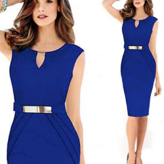 Women Fashion Metal Buckle Slim Temperament Blue Pencil Skirt WC-19BL