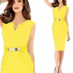 Womens Fashion Metal Buckle Slim Temperament Yellow Pencil Skirt WC-19Y|images|Dresses