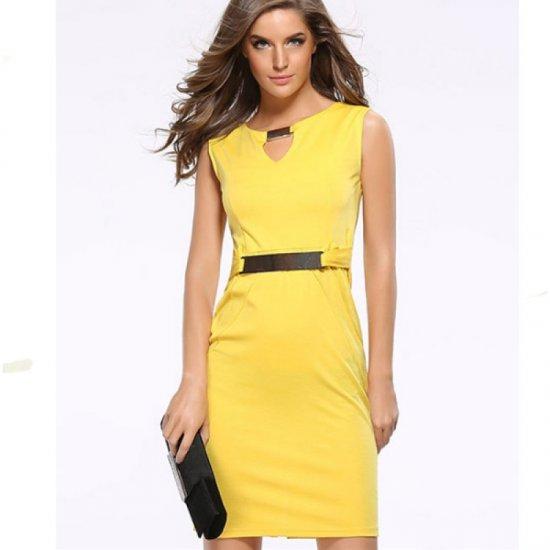 Women Fashion Metal Buckle Slim Temperament Yellow Pencil Skirt WC-19Y