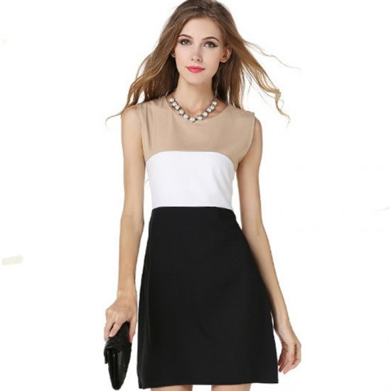 Womens Fashion Black Color Stitching Sleeveless Vest Blended Dress WC-20
