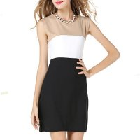 Womens Fashion Black Color Stitching Seeveless Vest Blended Dress WC-20