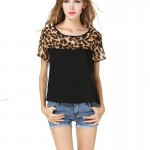 Women Fashion Black Color Leopard Round Neck Short Sleeve Chiffon Shirt WC-21 image